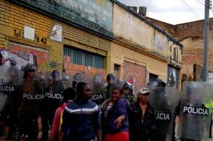 Desalojo policial de familias desplazadas en Bogotá, 10 marzo de 2011