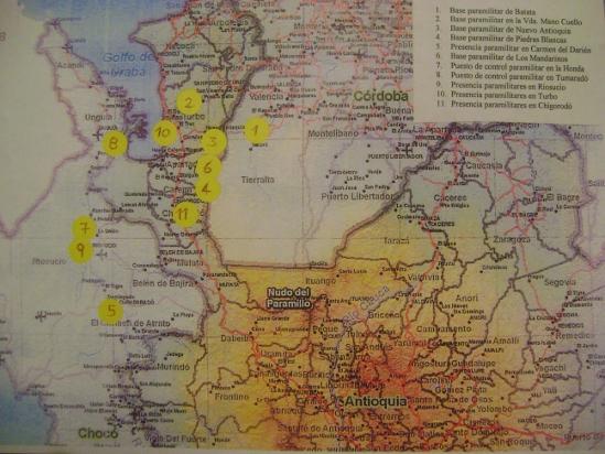 Mapa de Ubicación de Bases Paramilitares
